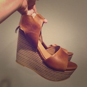 Shoes - Brand new camel colored wedges